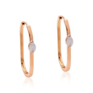 1.15 TCW Si/Hi Marquise Diamond Hoop Earrings Solid 18k Rose Gold Fine Jewelry