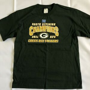 NFL Football Green Bay Packers 2011 North Champions VTG Youth T Shirt XL GREEN