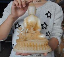 Tibet Buddhism Old jade Hand carved Shakyamuni Sakyamuni Medicine Buddha statue