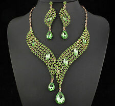 Teardrop Lime Green Austrian Rhinestones Crystal Necklace Earrings Set N926g