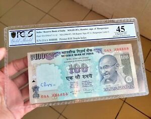 1996 India 100 Rupees First Prefix #OAA 888888 with Governor Hand Sign PCGS EF45