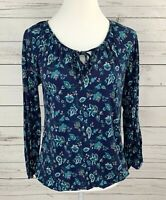 Old Navy Top Womens XS Blue Floral Print Long Sleeve Elastic Hem Rayon Blouse