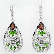 Ohrringe Chromdiopsid Granat & CZ 925 Silber 585 Weißgold