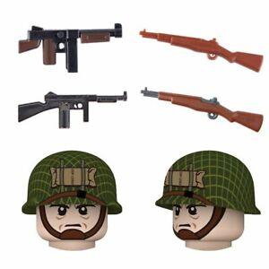 WW2 US Airborne Soldier Weapon Building Blocks MMilitary Helmet Guns Toys Kids,N