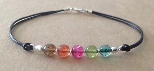 Multi TOURMALINE Beads, Black Leather Cord, Silver Plated, Friendship Bracelet