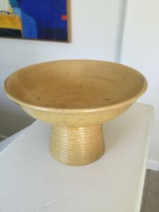 ANTIQUE CHINESE Stem Bowl yellow glaze stamped