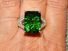 HELENITE & NATURAL CAMBODIAN ZIRCON LARGE RING-SIZE R-9.750CTS-WITH PLATINUM