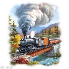 Train Crossing HEAT PRESS TRANSFER for T Shirt Tote Sweatshirt Quilt Fabric 744c