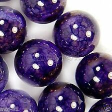 6mm Natural Purple Dragon Veins Agate Onyx Gemstone Round Loose Beads 15''