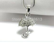 FREE GIFT BAG Silver Plated Rhinestone Crystal Umbrella Necklace Chain Jewellery