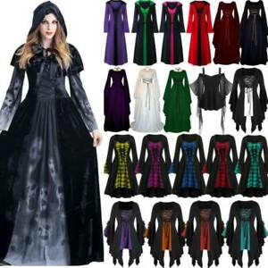 Halloween Fancy Renaissance Dress Gothic Party Witch Cosplay Costume Adult Lady