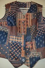 PAISLEY HOBO Earth Tones Boho Clown VTG 50s 60s HIPPIE PUNK Poly Beatnik S VEST