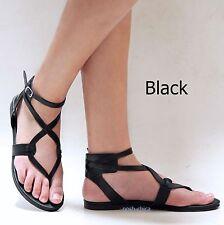 New Women OCp4 Black Tan Beige Gladiator Strappy Flat Sandals 6-10