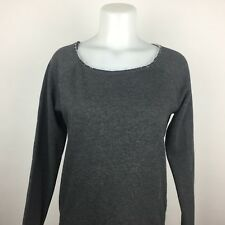 Aeropostale Women Sweater Size M Gray Striped Boat Neck Long Sleeve D2