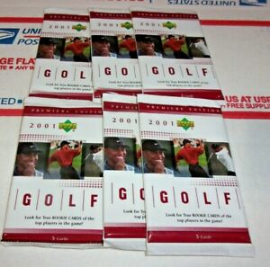 6 x 2001 Upper Deck Golf Factory Sealed Pack(s) Lot Tiger Woods Rookie (RC)