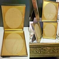 Vtg 8x10 Metal Photo Picture Frames Ornate Brass Gold Tone VELVET OVAL Glass Lot