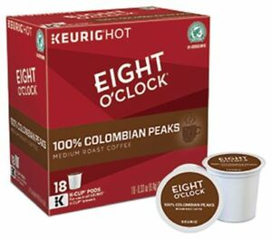 Eight O'Clock Colombian Peaks Coffee 18 to 144 Keurig K cups Pick Any Quantity