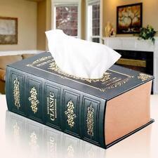 Europe Style Book Leather Tissue Box Dispenser Case Napkin Holder Home Decor