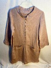 Custom Made Handmade Women's Mauve Button Down Linen Shift Dress XL