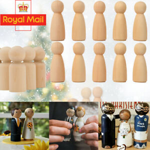 20/40PCS Wooden Peg Dolls Natural Wood 65mm Unfinished Baby Kids Family DIY Toy