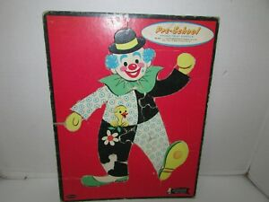 VINTAGE PUZZLE IN TRAY FRAME CLOWN  PRESCHOOL #4421 WHITMAN 11 X 14  1962  L183