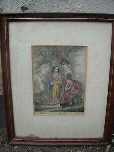 "Antique George Baxter (1804-1867) Oil Aquatint Framed Print ""Going to Church"""