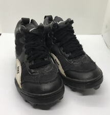 NIKE Boys Football Cleats LEATHER And Manmade Materials Shoes Black White, Sz 2Y
