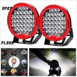 2Pcs 9inch 185W 37LED Round Car Off-Road Work Light Spot Flood Driving Head Lamp