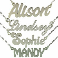 925 Sterling Silver Small ANY Name Plate Necklace With Chain In Gift Box