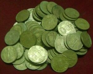 REPUBLIC INDIA - 20 PAISE - BRASS COINS - LOTUS - 50 PIECES LOT - 1968 TO 1971