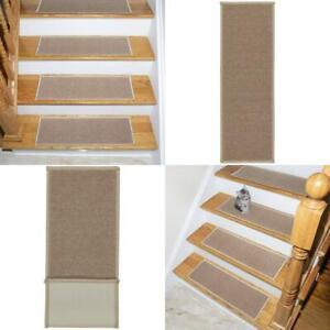 Ottomanson Skid-Resistant Rubber Backing Non-Slip Carpet Stair 7 Pack, Beige