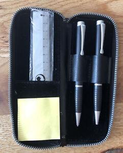 Schreibset im Lederetui mit Kugelschreiber🖊 und Bleistift ✏️ Lineal 📏 Block 🗒