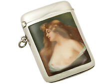 Austrian Sterling Silver and Enamel Vesta Case - Antique 1904