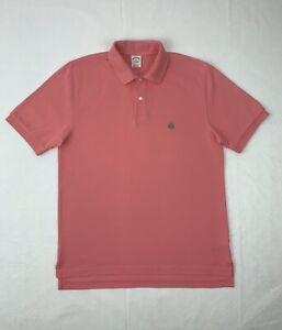 Brooks Brothers Performance Polo Golf Shirt Medium Pink Short Sleeve Button Up