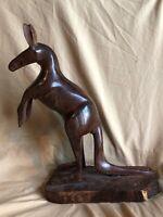 """Vintage Hand Carved Kangaroo Statue 10 1/2"""""""