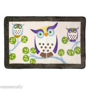 Owl Whimsical Hoot Chocolate Brown Tree Branch Bath Rug Mat Decor