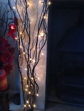 Decorative Black Branch/Twig Lights+50 White Micro-Lights/1.2metres/Mains