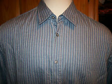 NEW Hugo Boss Black label long sleeve OBERTO blue stripe shirt sz 2XL XXL