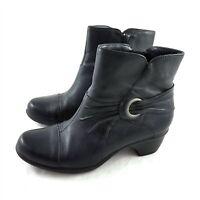 Clarks Bendables Black Leather Ankle Boots Booties Cap Toe Zipper Womens 8 M