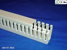 """18 New 1""""x1.5""""x2m Narrow Finger Open Slot Wire Cable Raceway Duct Cover,PVC,Gray"""