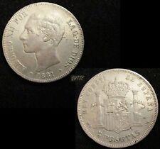 SPAIN, 197-ALFONSO XII, 5 PESETAS 1881*18-81, MADRID MS M