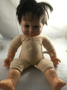 """Baby So Real Irwin Toys 2007 Reborn Style Baby Doll red Eyes & Black hair 16"""".N6"""