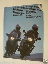 A197-BMW K100,K75C,K75S BROCHURE POSTER DUTCH LANGUAGE 6 PAGES 1983/84 ?