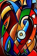 Original Abstract print Modern LOVE Hearts HUGE Canvas WALL Art Fidostudio