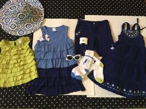 Gymboree Greek Isle hat top tee socks hair sunglasses dress shorts 5 jewelry