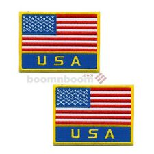 "2 pc set Usa National Flag Patches 3.5""x 3.25"" Taekwondo Karate Mma Uniform New"