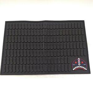 Barber Station Mat, Black Table Mat for Tools Beauty Salon Mat, Flexible Rubber