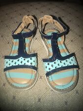 Hanna Andersson Girls Blue Teal Sandals Size 8 Toddler
