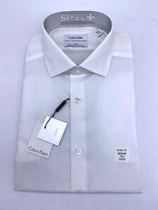 Calvin Klein Men's Steel + Slim Fit Dress Shirt Non-Iron White Size 15.5 32/33 M