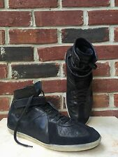 BURBERRY Black Leather Suede High Top Ankle Sneakers Mens Shoes US 9 42 * USED *